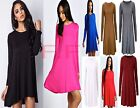 Womens Plain Jersey Flared Long Sleeve Ladies Party Mini Swing Skater Dress 8-14