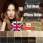 New UK STOCK 8PCS Clip In 100% Real Remy Human Hair Extensions Full Head H389