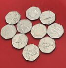SEE IMAGES   OLIMPIC COIN JOBLOT   BUNDLE OF 10 DIFFERENT SH