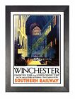 Winchester Hampshire Retro Picture Old Railway Advert Vintage Poster