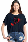 American Bald Eagle USA Flag Flowy Boxy Tee 4th of July Patriotic T-Shirt