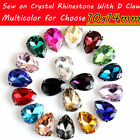 20Pcs 10x14mm Glass Crystal Rhinestone With D-Claw For Clothing Shoes Decoration