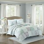 Prewashed 100% Cotton Ivory Blue Patchwork Quilt Coverlet 3 pcs Cal King Queen  image