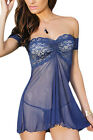 Blue Babydoll Chemise with Thong Sexy Lingerie Nightwear **UK SELLER**