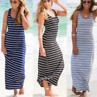 UK Women Sleeveless Striped Bodycon Sundress Ladies Summer Beach Long Maxi Dress