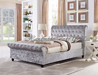 Stylish Sleigh Chesterfield Upholstered Designer Crushed Velvet Bed Frames