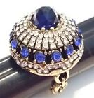 ART DECO STYLE SIMULATED BLUE SAPPHIRE FACETED GLASS CRYSTAL & RHINESTONE RING