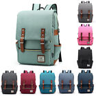 Female Women Men Canvas Leather Travel Backpack Satchel Rucksack Laptop School Bag