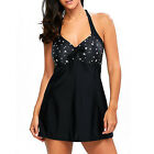 Womens Black Halter Neck Swimdress Beach Swimwear Swimsuit Tankini Bathing Suit