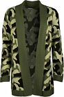 New Womens Camouflage Pattern Long Sleeve Top Ladies Open Knitted Cardigan 8-14