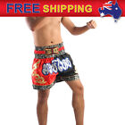 AU New Boxing Shorts Muay Thai Kick Trunks Satin Trousers 2Tone Red Black M-3XL