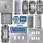 BG Screwless Flatplate Grid Plate Switch Components Brushed Steel Satin Chrome