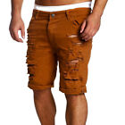 Men's Slim Skinny Straight Jeans Shorts Destroyed Ripped Denim Pants Trousers