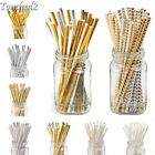 25/50/125/250Pcs Gold Silver Foil Drinking Paper Straws Birthday Party Supply