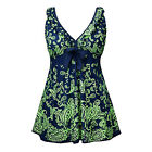 Womens Strappy Swimwear Floral Swimsuit Green Bathing Swimdress UK Plus sz 20-28