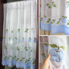 Embroidered apple patch work white Home Kitchen Sheer Cafe Curtain rod pocket