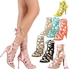 New Women Open Toe Strappy Wrap Lace Up High Stiletto Heel Gladiator Pump Sandal