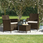 Rattan Garden Bistro Furniture Set 3pc Outdoor Patio Conservatory Table & Chairs