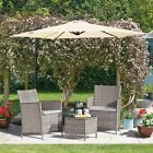 Rattan Garden Furniture 3pc Bistro Set Outdoor Patio 2 Chairs & Glass Table New