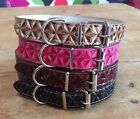 Collar Dog Pet Puppy Pink Strong Small Medium Diamond Pattern
