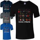 Choose A Weapon Guitar Collection T-Shirt - Bass Electric Acoustic Mens Gift Top