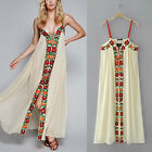 2017 Embroidery Floral Spaghetti Strap Hippie Boho Party Long Beach Maxi Dress