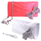 LADIES WOMENS CLUTCH CHAIN HAND BAG PURSE BOW DIAMANTE PARTY PROM BRIDAL PLEATED