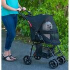 Dog Stroller With Canopy Storage Basket Cup Holders Pet Travel Carriage Cat Ride