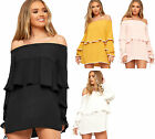 Womens Off Shoulder Layered Long Sleeve Mini Dress Ladies Tiered Crepe Frill Top