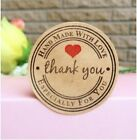 Round Paper Labels 'Thank you, Hand made with love' Gift Food Craft Stickers S1