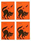 4 VINTAGE 1950's HALLOWEEN Party Tally Card w  Black Cat,  Falling Leaves Design