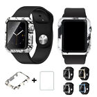 For Apple Watch Series 1 38/42mm Hard Frame Case Cover+Tempered Glass Protector