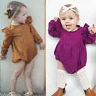 Hot Baby Girl Butoon Romper Outfit Kid Butterfly Sleeve Sunsuit Playsuit Clothes