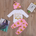 Matching Clothes Big Sister Little Sister Romper Tops+Long Pants+Hat Outfits Set