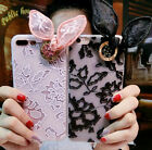 Luxury Relief Lace With Cute Ears Bowknot Case Cover For iPhone 6S Plus 7 plus