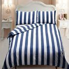 Navy Blue & White Vertical Stripe Duvet/Quilt Cover With Pillow Cases