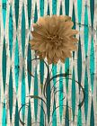 Rustic Distressed Floral Farmhouse Wall Art Teal Brown Home Decor Matted Picture