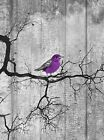 Purple Gray Rustic Distressed Bird On Tree Branch Wall Art Home Decor Picture