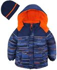 Ixtreme Little Boys Multicolor Square Hooded Winter Puffer Jacket with Free Hat