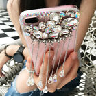 Luxury Charm Pendant Tassel Bling Diamond Rhinestone Gems Clear Phone Case Cover