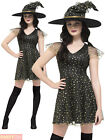Ladies Fever Wicked Witch Costume Womens Moon Stars Halloween Fancy Dress Outfit