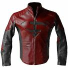 Superman Smallville Man Of Steel Motorcycle Red and Black Leather Biker Jacket