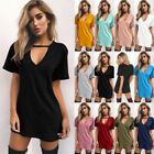 UK Womens Choker V Neck Long T-Shirt Tops Blouse Ladies Casual Short Mini Dress