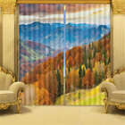 Yellow Leaves Forset Blue 3D Curtain Blockout Photo Printing Curtains Drape