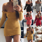 UK Womens Off Shoulder Knitted Bodycon Party Ladies Cocktail Bandage Mini Dress
