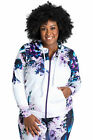 Plus Size Poetic Justice Active Zip-Up Floral Print Poly Tricot Hoodie