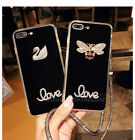 Cute Bling Diamond Crystal Love Soft Case Cover for iPhone 6/6S/7 Plus & Strap