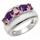 5-stone Natural Rhodolite & Amethyst Solid 925 Sterling Silver Ring Unique Style