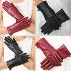 Women Gloves Faux Leather Winter Warm Touch Screen Full Finger Driving Mittens