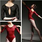 New Womens Black 3/4 Sleeve Floral Ballet Trainning Leotard Costume-C069 C070